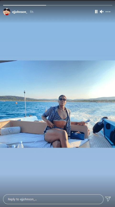 EJ Johnson shares a picture of himself on a boat.   Photo: Instagram/Ejjohnson_