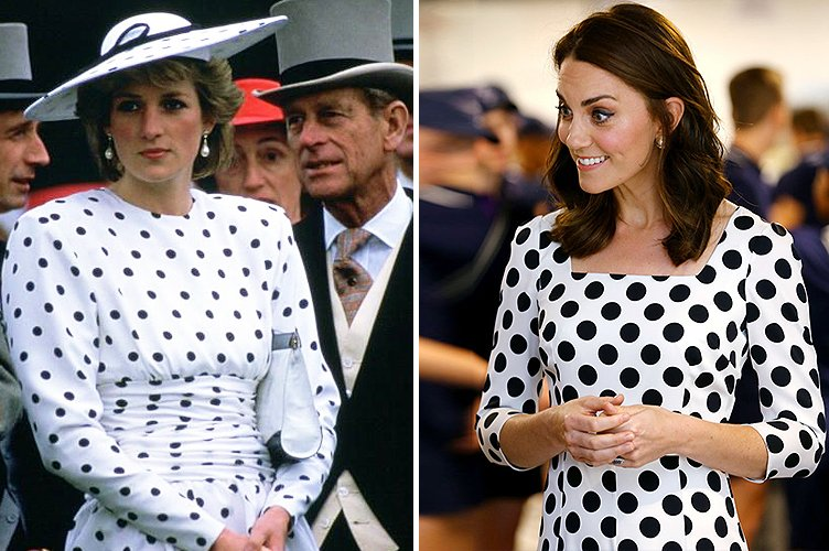 Princess Diana in June 1986 and Duchess Kate Middleton in July 2017 | Photo: Getty Images