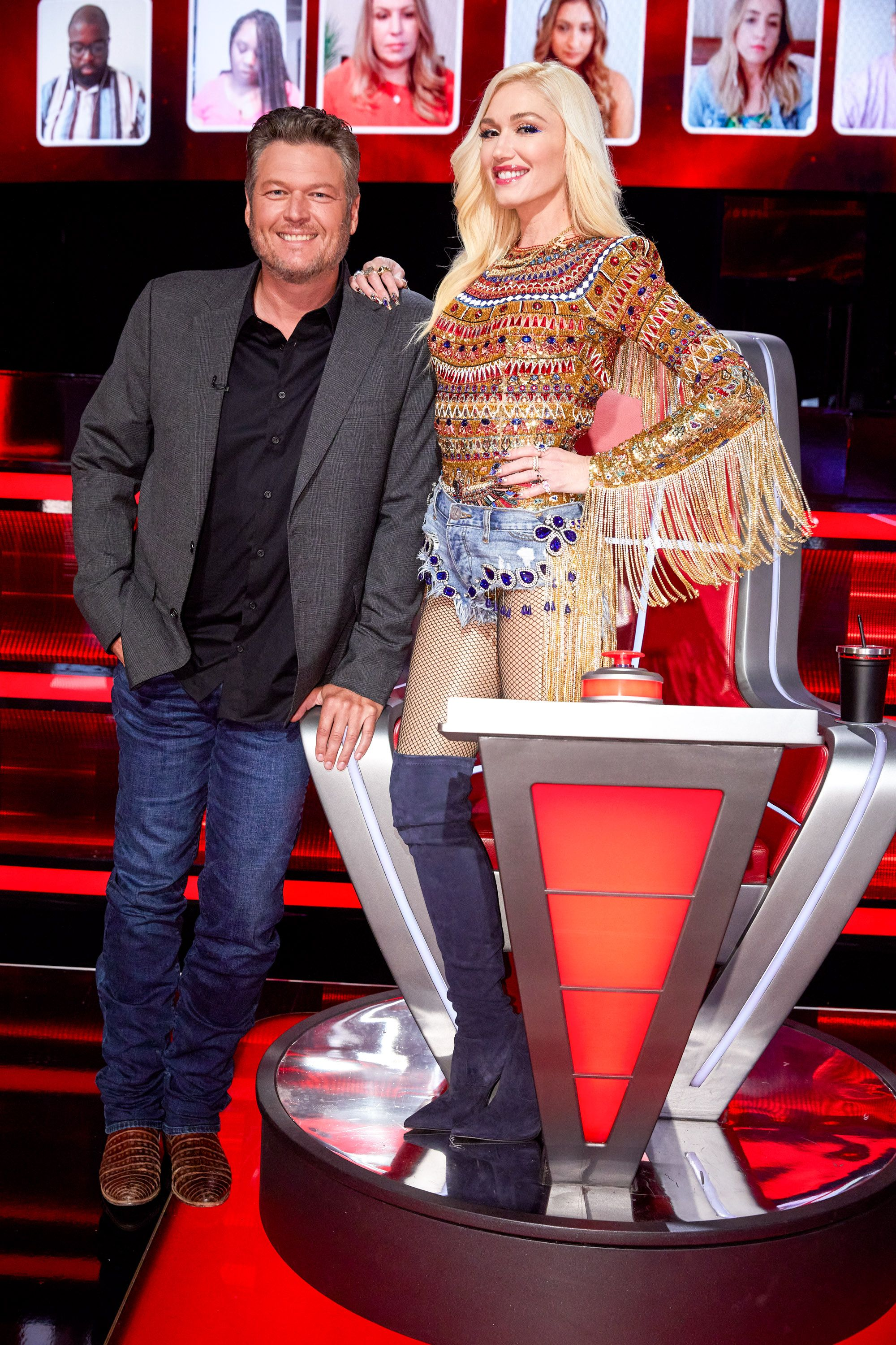 """Blake Shelton and Gwen Stefani on season 19 of """"The Voice's"""" """"Battle Rounds"""" on September 8, 2020 