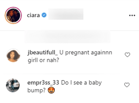 Screenshot showing comments on Ciara's Instagram post | Source: Instagram/ciara