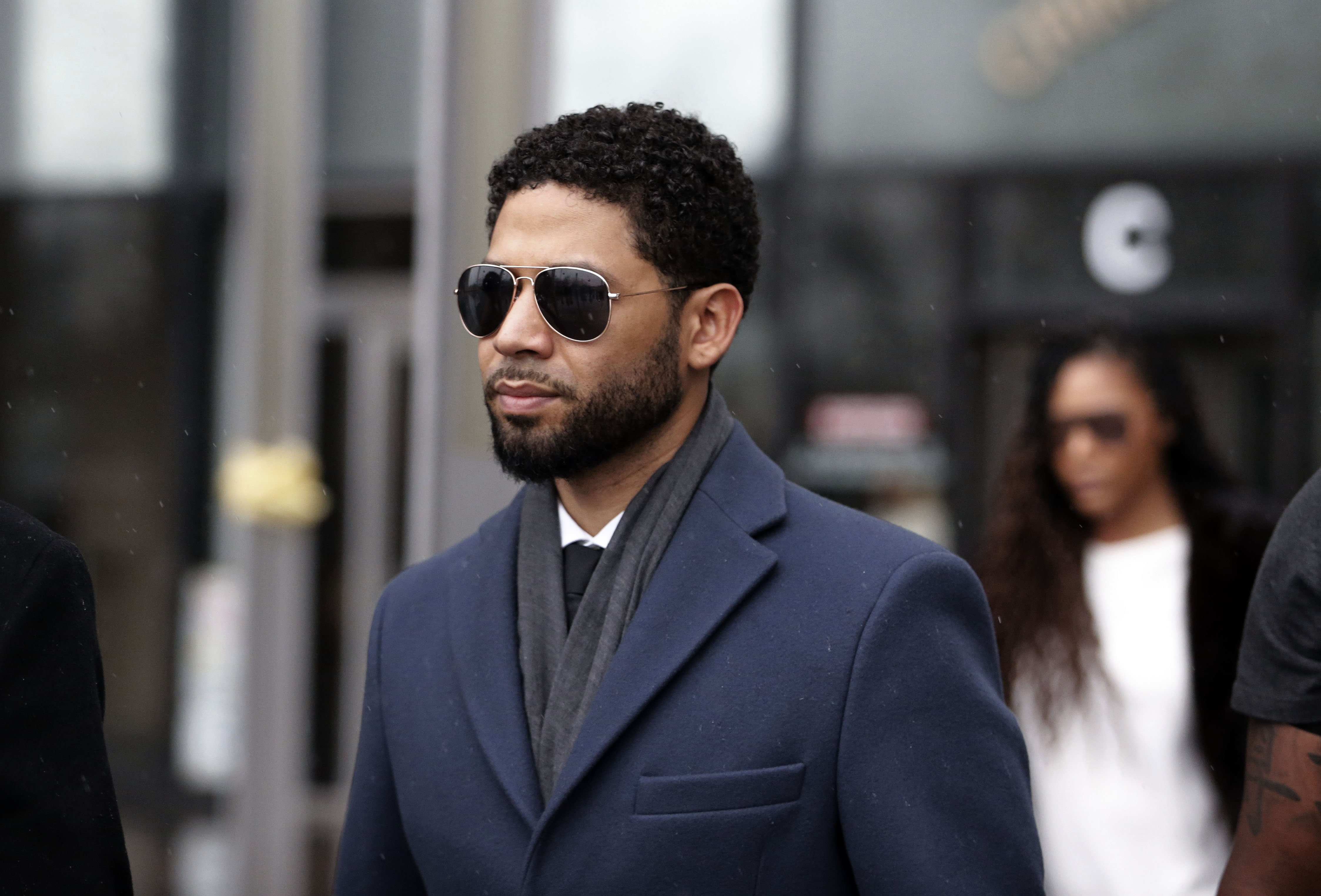 Jussie Smollett leaving Lieghton Criminal Courthouse in March 2019 in the midst of accusations of him staging his own attack.  | Source: Getty Images