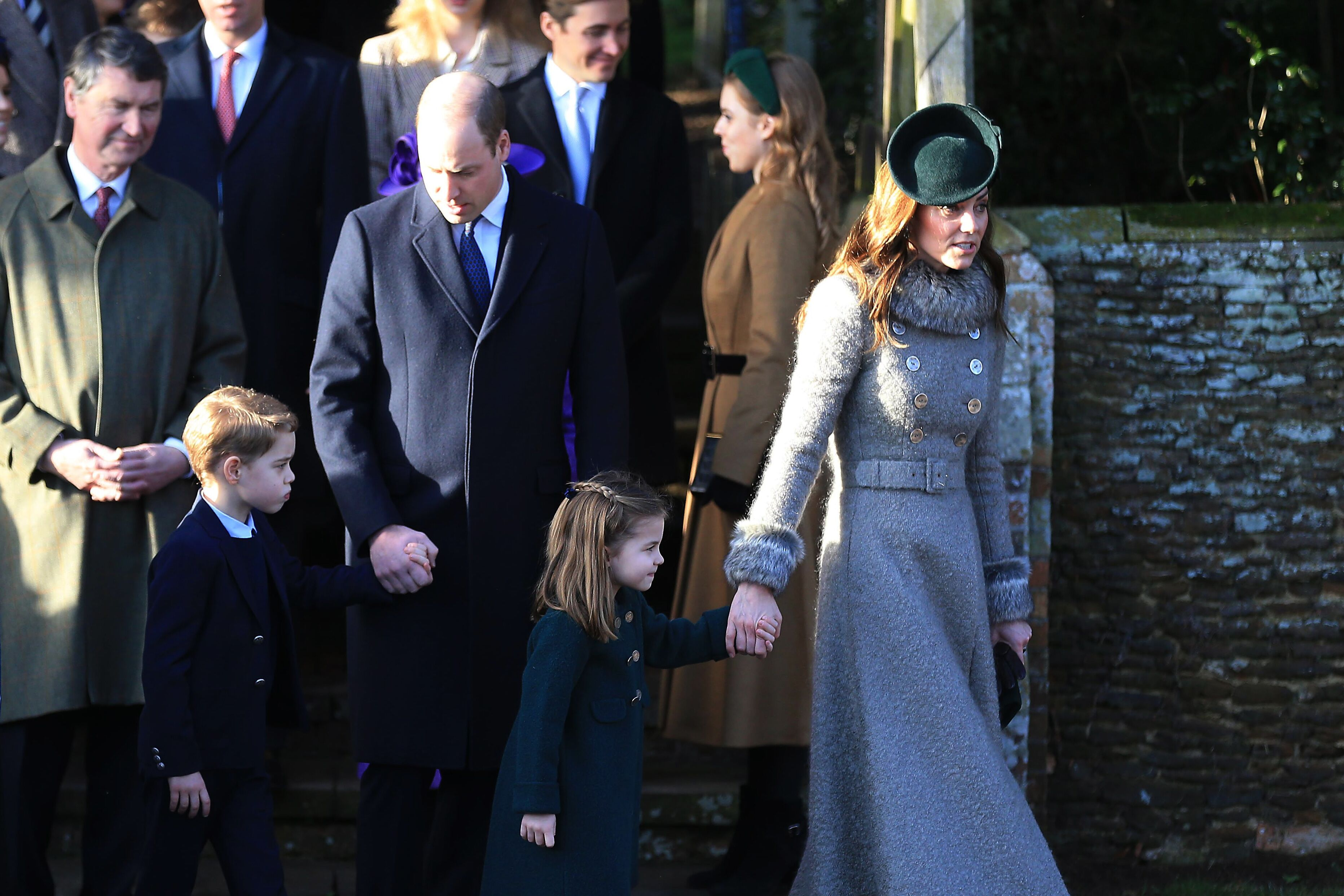 Prince William, Duke of Cambridge, Prince George, Princess Charlotte and Catherine, Duchess of Cambridge attend the Christmas Day Church service at Church of St Mary Magdalene on the Sandringham estate in King's Lynn, United Kingdom | Photo: Getty Images