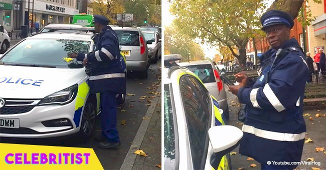 Traffic warden slapping a police car with ticket for parking in disabled spot went viral last year