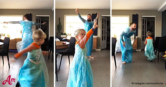 Heart-warming video of father and son dancing to 'Frozen' song dressed in Queen Elsa costumes