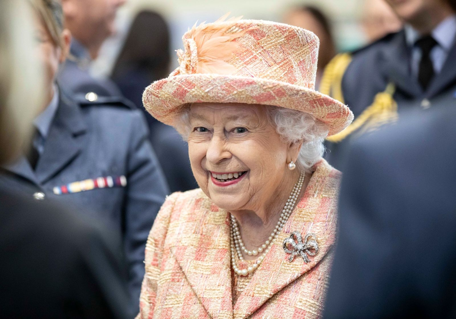 The Queen meets personnel at RAF Marham where she inspected the new integrated training center at Royal Air Force Marham on February 3, 2020, in King's Lynn, England | Photo: Richard Pohle - WPA Pool/Getty Images