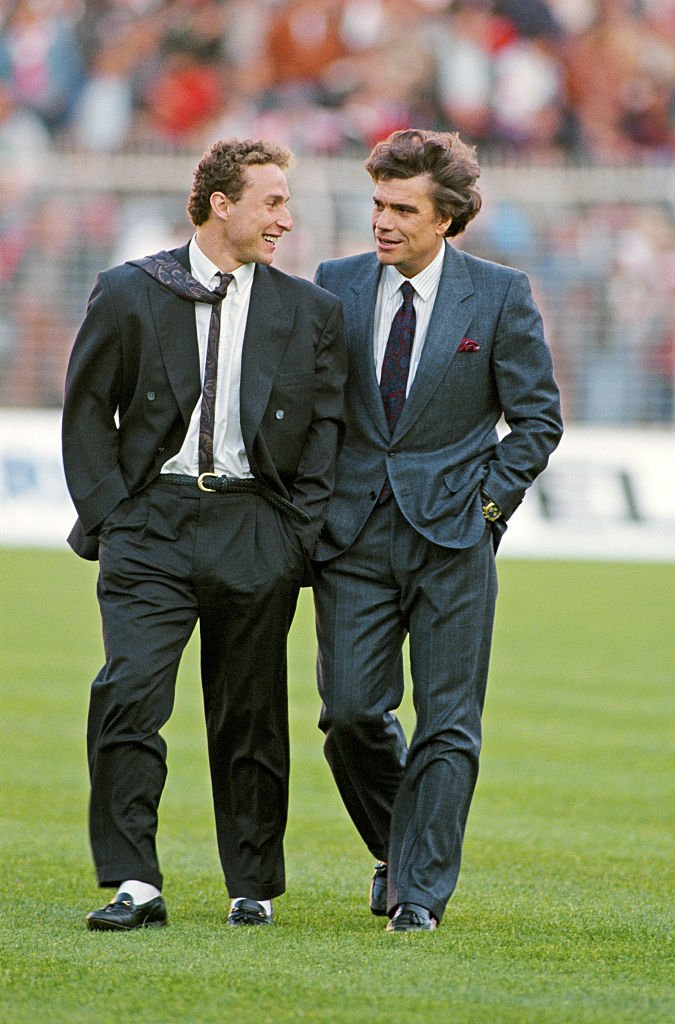 Berard Tapie et Jean- Pierre Papin en avril 1990. Photo : Getty Images