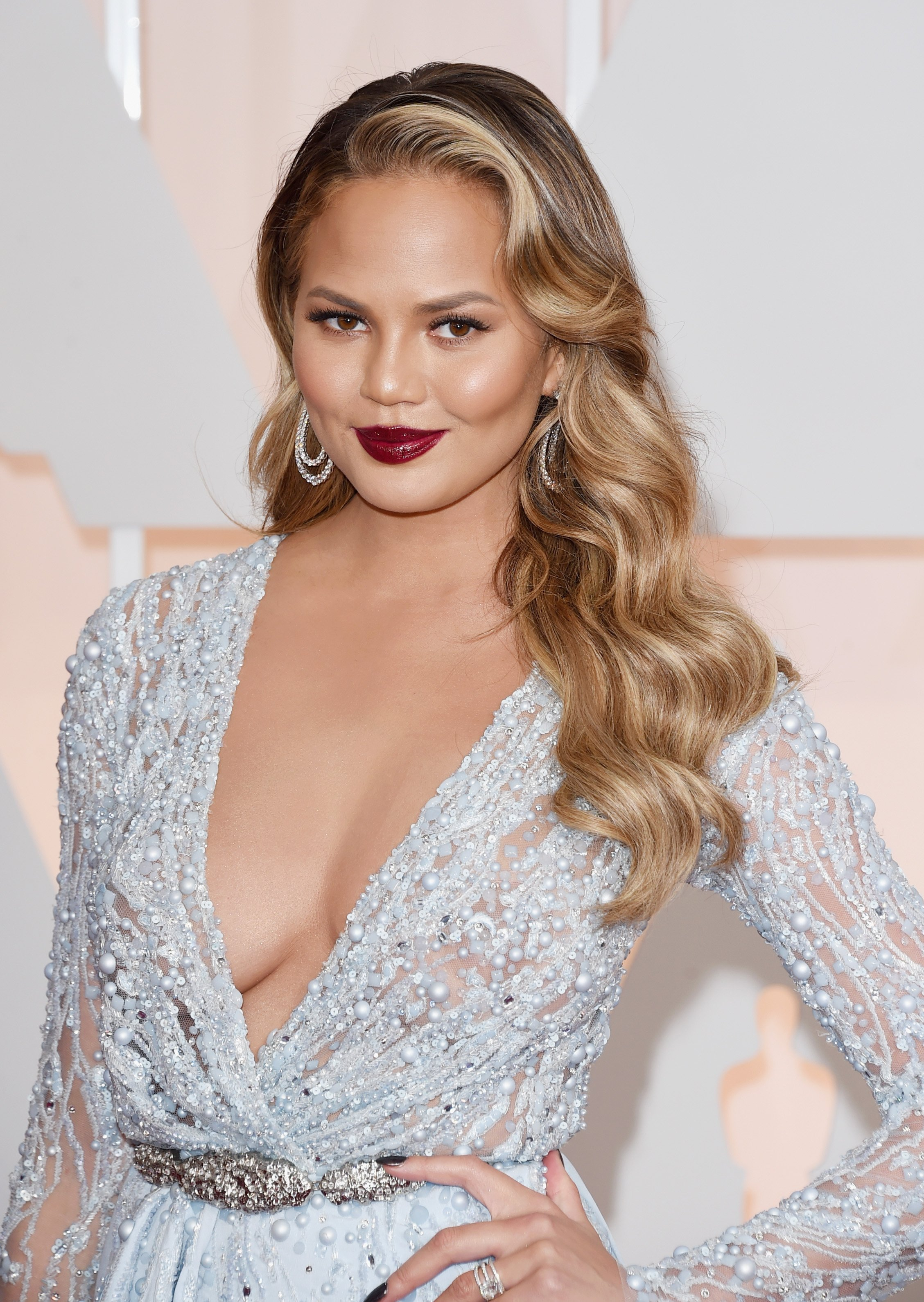 Chrissy Teigen at the 87th Annual Academy Awards at Hollywood & Highland Center on February 22, 2015 in Hollywood, California.| Source: Getty Images