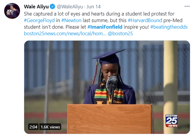 An image on June 14, 2021, of Imani Fonfield during her high school graduation after she was accepted into the Harvard University after being homeless | Photo: Twitter/@WaleAliyu