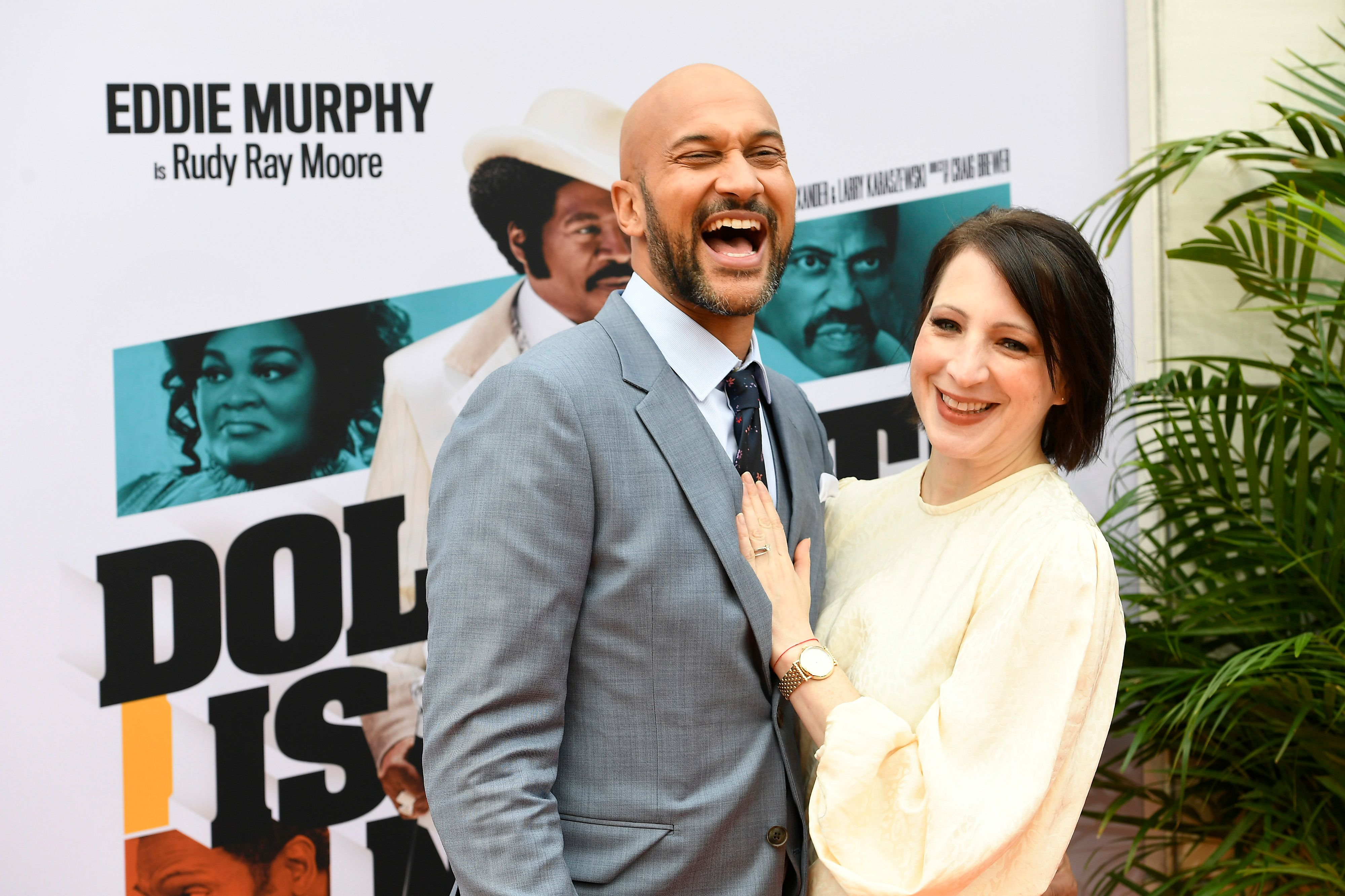 """Keegan-Michael Key and wife Elisa Key at the LA premiere of Netflix's """"Dolemite Is My Name"""" in 2019 in Westwood, California   Source: Getty Images"""
