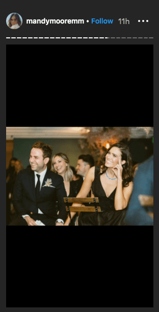 Mandy Moore and her husband, Taylor Goldsmith, holding hands at an event.   Photo: Instagram/mandymooremm