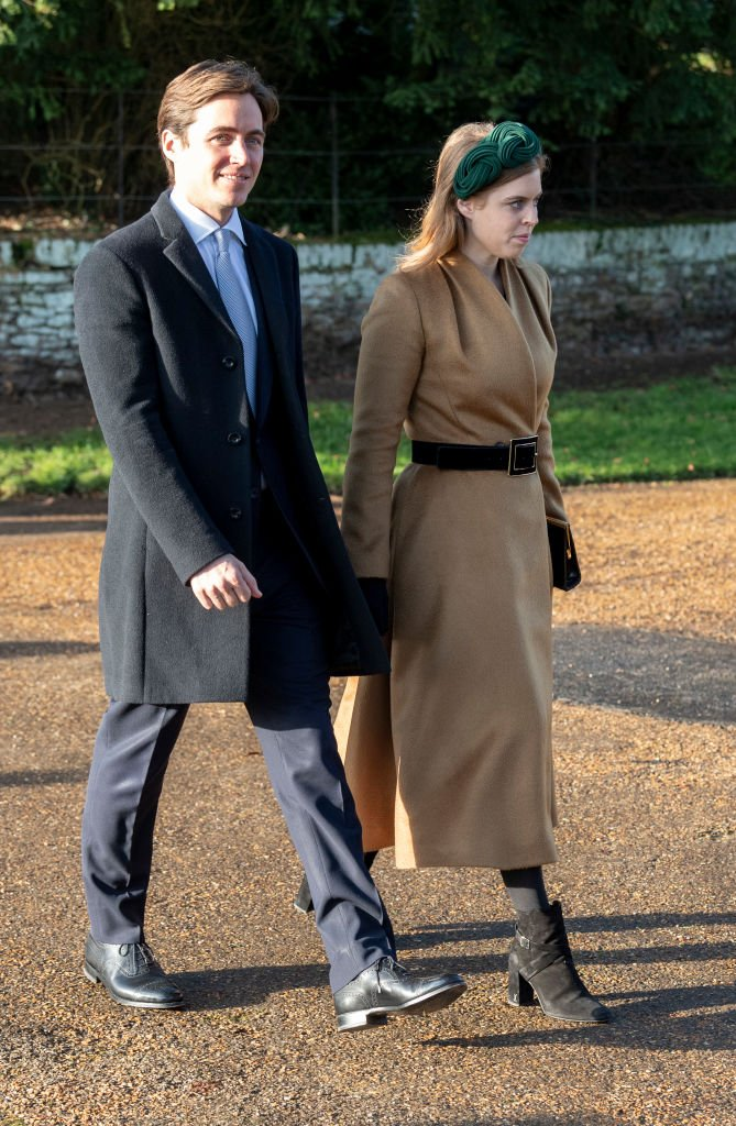 Princess Beatrice and Edoardo Mapelli Mozziconi attend the Christmas Day Church service at Church of St Mary Magdalene on the Sandringham estate on December 25, 2019 in King's Lynn, United Kingdom. | Source: Getty Images