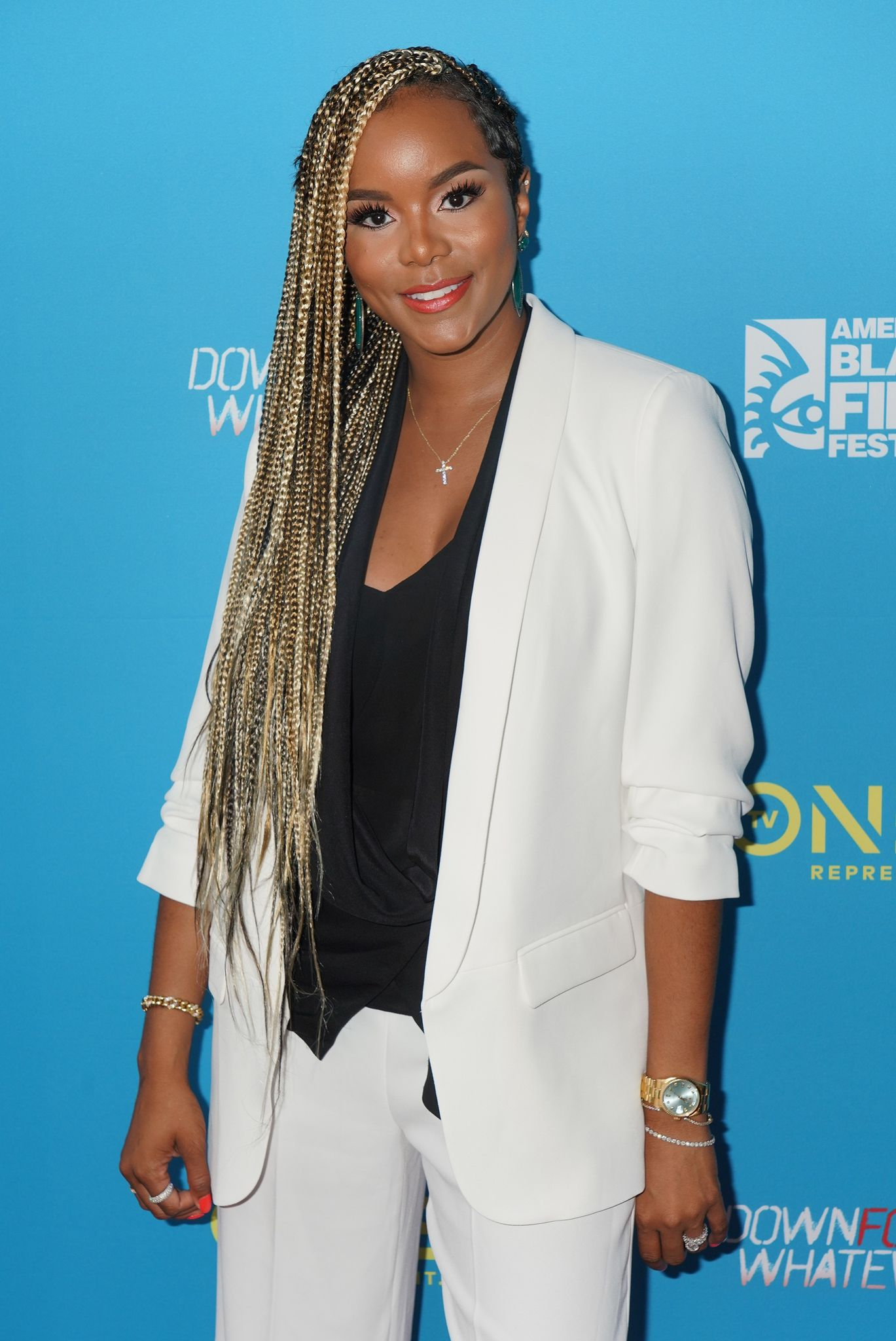 "LeToya Luckett is seen at the TV One ""Down For Whatever"" premiere at the American Black Film Festival at the Colony Theatre 