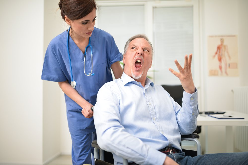A photo of a man in an hospital displaying anger   Photo: Shutterstock