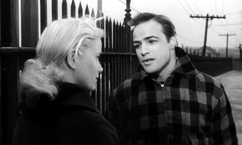 "Marlon Brando with Eva Marie Saint in the 1954 film ""On the Waterfront,"" which won him his first Oscar 