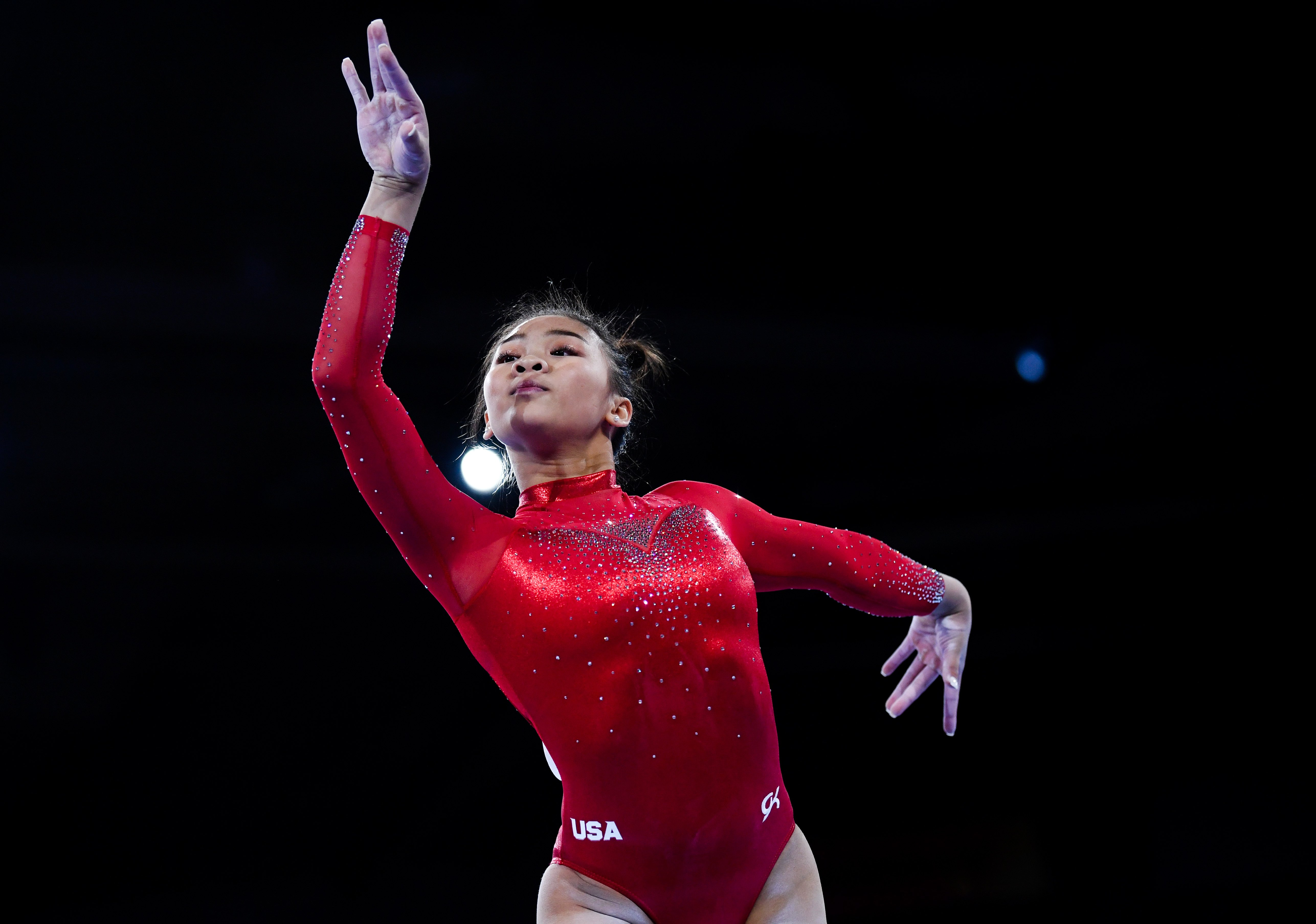 Artistic gymnast Sunisa Lee performs during the Women's All-Around Final on Day 7 of FIG Artistic Gymnastics World Championships on October 10, 2019 in Stuttgart, Germany | Photo: Getty Images