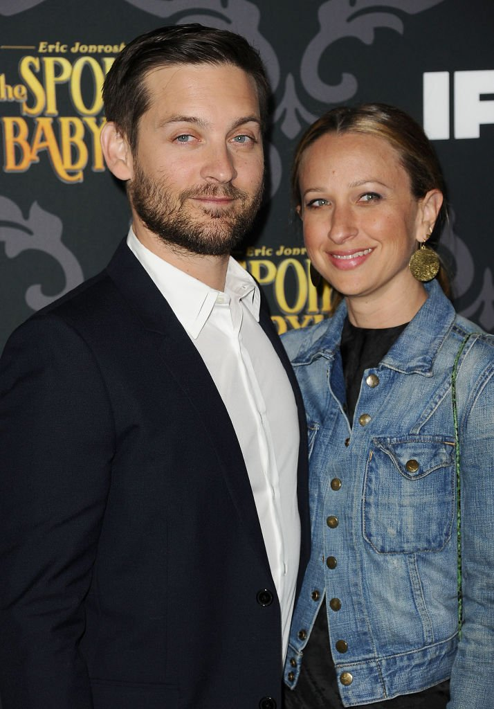 """Tobey Maguire and wife Jennifer Meyer attend the premiere of IFC's """"The Spoils Of Babylon"""" at DGA Theater on January 7, 2014 