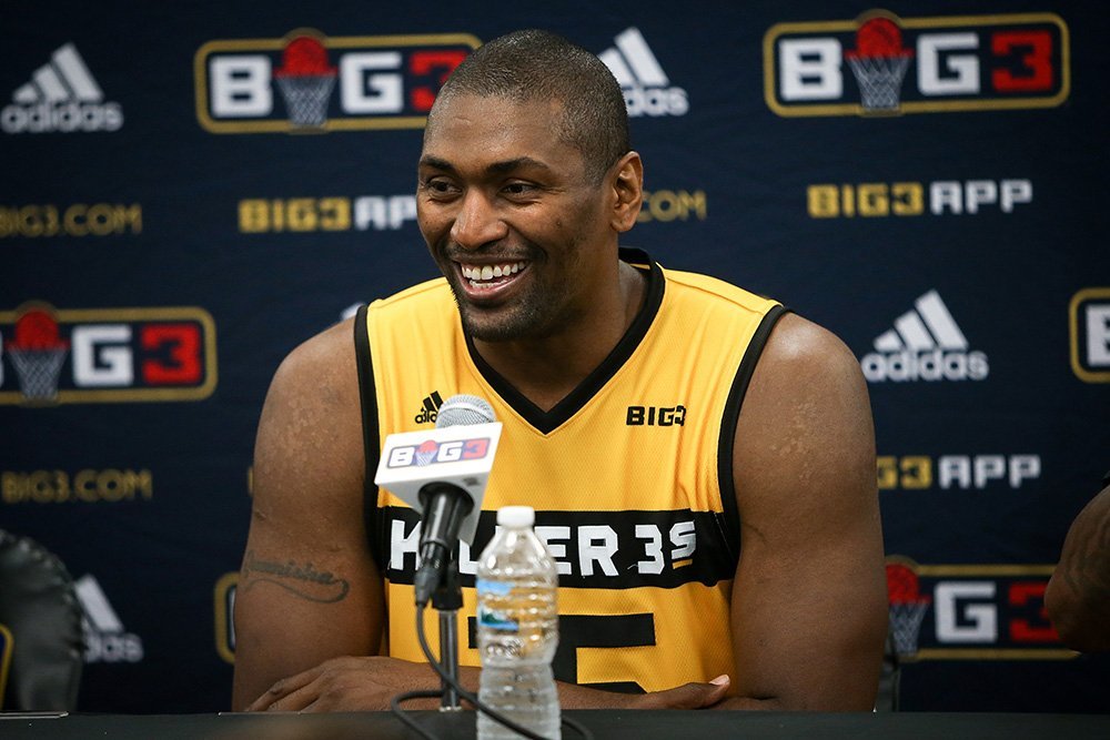 Metta World Peace, #15 of Killer 3s speaks to the press after the Killer 3s defeated the Ghost Ballers during week two of the BIG3 three on three basketball league at United Center on June 29, 2018 in Chicago, Illinois. I Image: Getty Images.