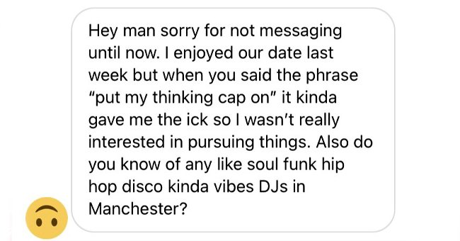 Man shares a screenshot of a message his date sent him, revealing the baffling reason they lost interest | Photo: Twitter/flamencolambada