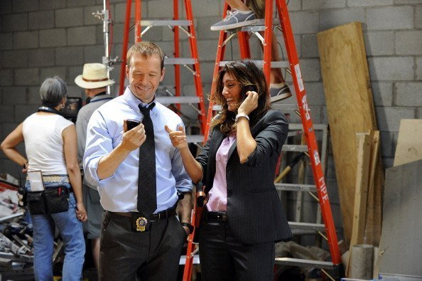 "Danny (Donnie Wahlberg) and Jackie (Jennifer Esposito) behind the scenes on ""Blue Bloods"" 