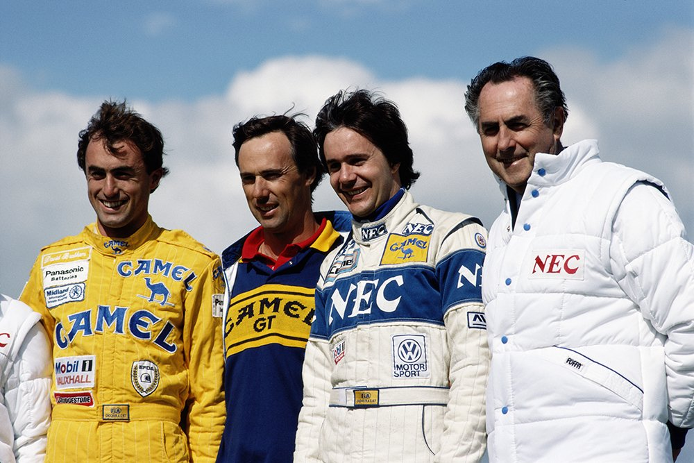 """David Brabham, Geoff Brabham, Gary Brabham and father Sir John """"Jack"""" Brabham  at the Silverstone Circuit in Towcester, Great Britain, in May 1988. I Image: Getty Images."""