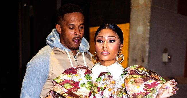 Check Out Nicki Minaj's Bejeweled Sheer Dress as She Snuggles with Her Husband in a Sweet Photo