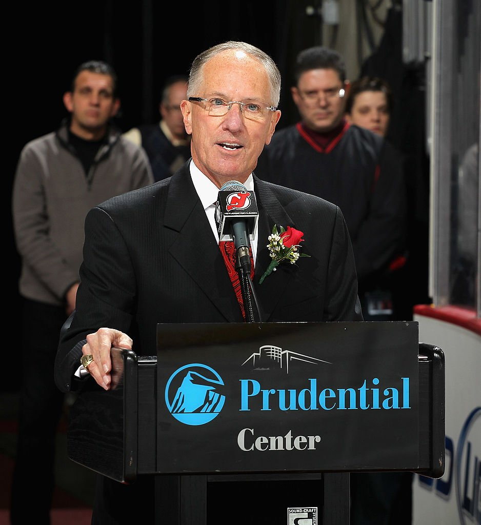 "Mike ""Doc"" Emrick during pregame ceremonies on ""Doc"" Emrick Night at the Prudential Center on February 24, 2012 