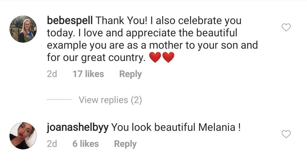 Netizens respond to First Lady Melania Trump's Mother's Day address on May 10, 2020. | Source: Instagram/flotus.