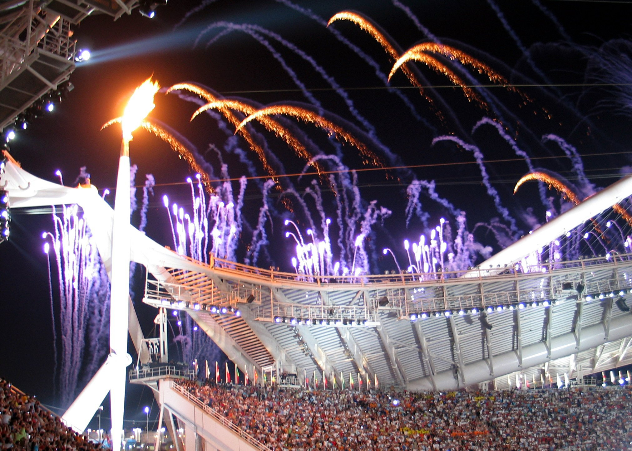 Olympic flame at 2004 opening ceremony in Athens. Greece | Source: Wikimedia Commons