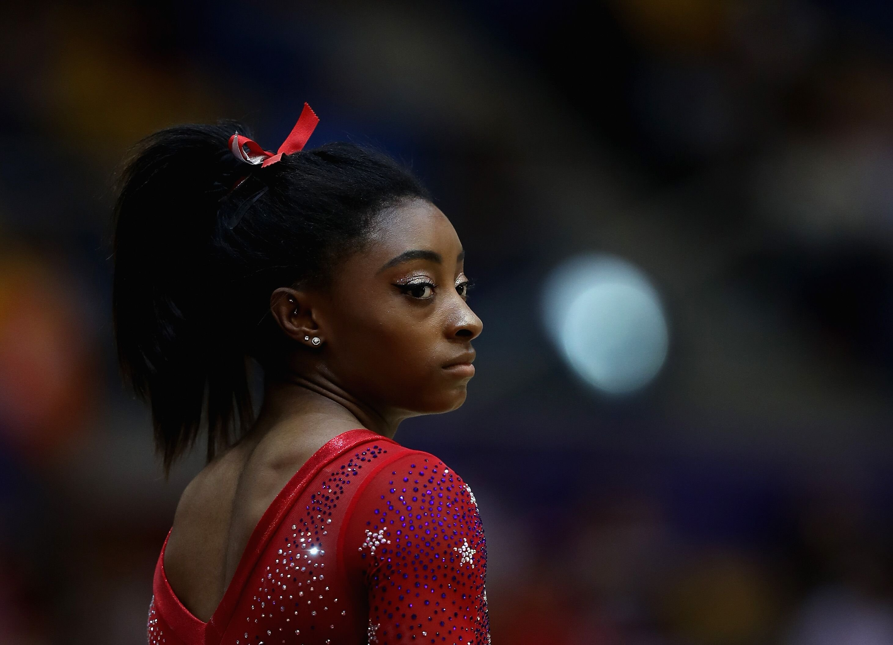 Simone Biles while at a gymnastics competition | Source: Getty Images/GlobalImagesUkraine