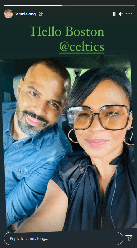 A selfie of actress, Nia Long and her handsome fiancé Ime Udoka on Instagram story | Photo: Instagram/iamnialong