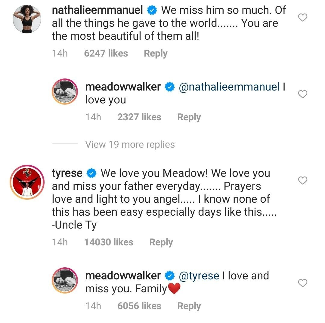 """Paul Walker's co-stars in """"Fast and Furious,"""" Nathalie Emmanuel and Tyrese Gibson's comments on Meadow's post on Instagram 