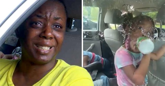 Angela Thrower cries while inside her car with her two kids.   Source: Facebook/AlexThorsonNews