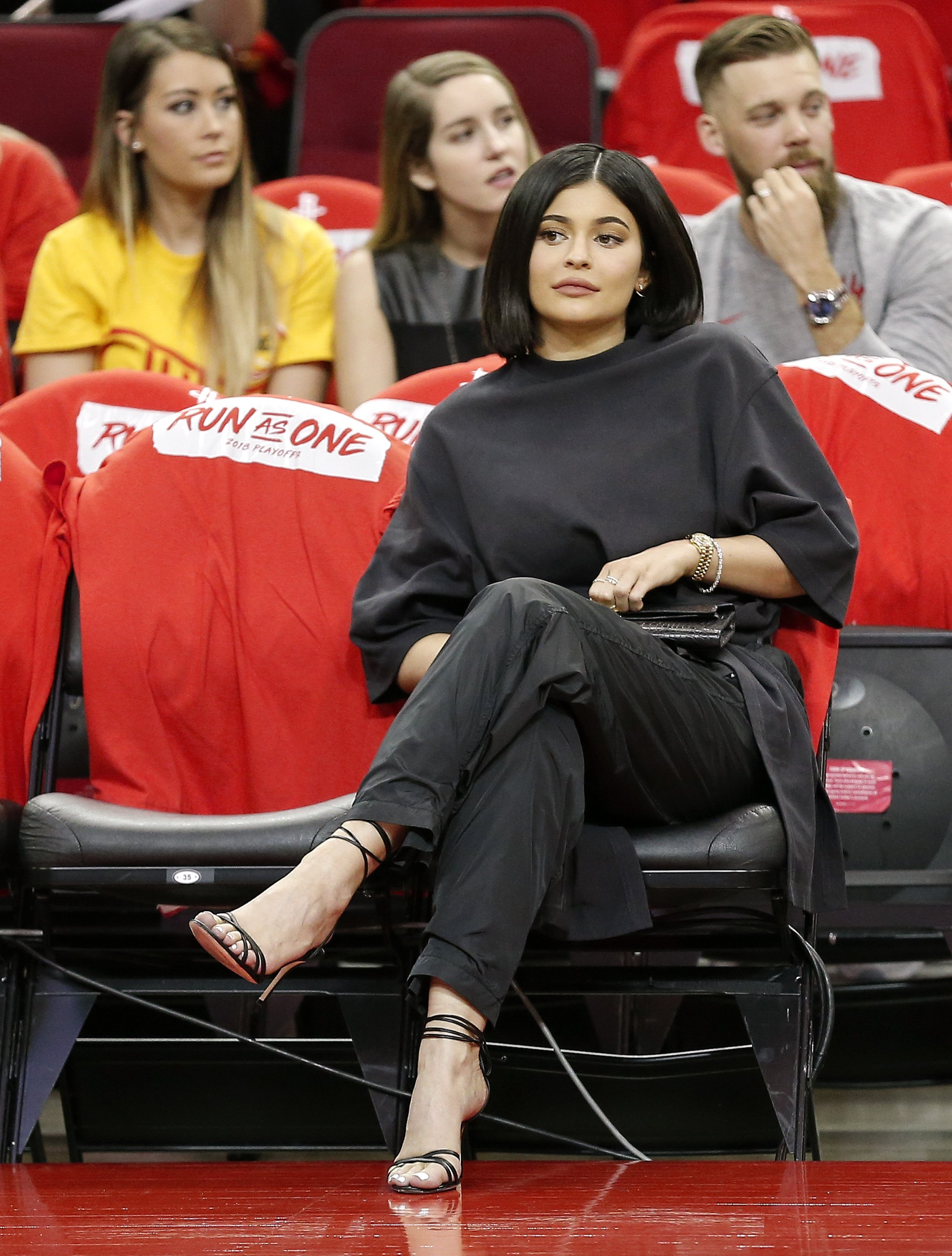 Kyle Jenner sits courtside before Game Two of the first round of the Western Conference playoffs at Toyota Center on April 18, 2018 in Houston, Texas | Photo: Getty Images