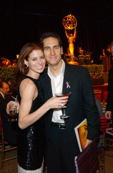 Debra Messing and husband Daniel Zelman pose during the Unity Dinner for the 53rd Annual Primetime Emmy Awards at the Century Plaza Hotel November 4, 2001, in Los Angeles, CA. | Source: Getty Images.