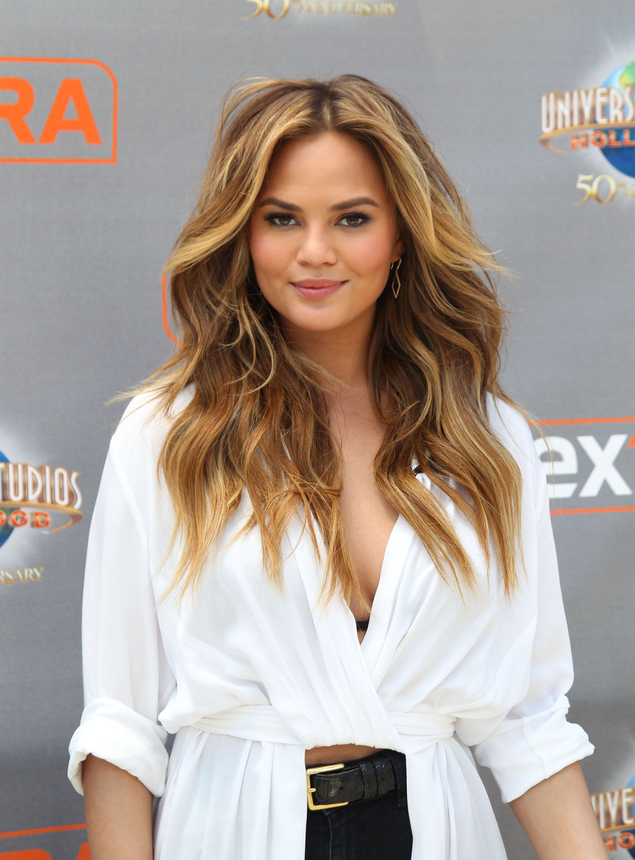 """Model Chrissy Teigen visits """"Extra"""" at Universal Studios Hollywood in May 2015. 
