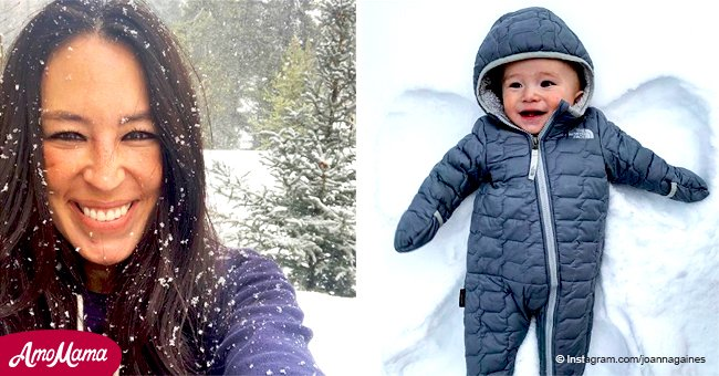 Joanna Gaines shows off her 'very own snow angel' as she and baby Crew enjoy sledding time