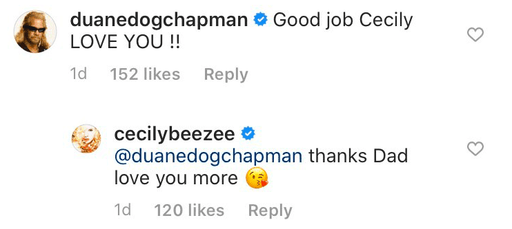 Duane Chapman comments on Cecily's instagram post | Photo: Instagram/ cecilybreezee