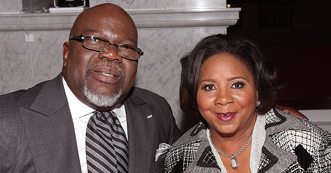 TD Jakes' Wife Serita Makes a Fashionable Statement Sporting a Pink Sweater & Denim Skirt