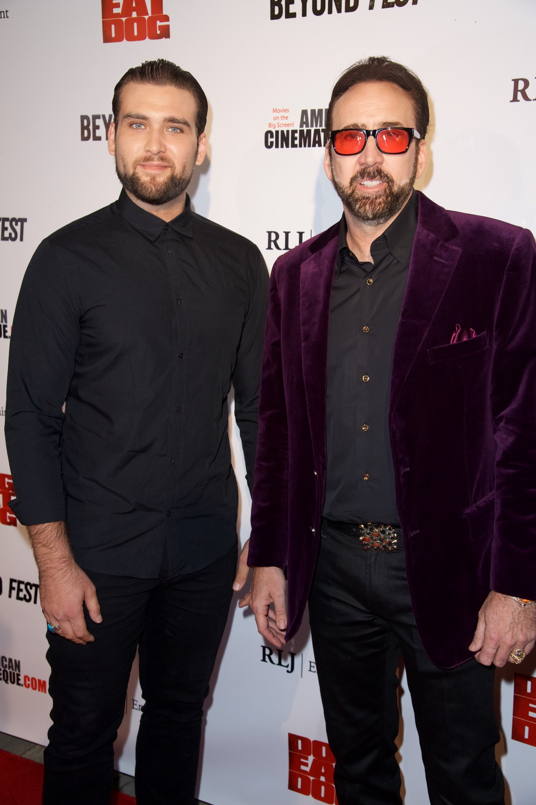 """Weston Cage and Nicholas Cage attend the Premiere of RLJ Entertainment's """"Dog Eat Dog"""" at The Egyptian Theatre on September 30, 2016, in Los Angeles, California. 