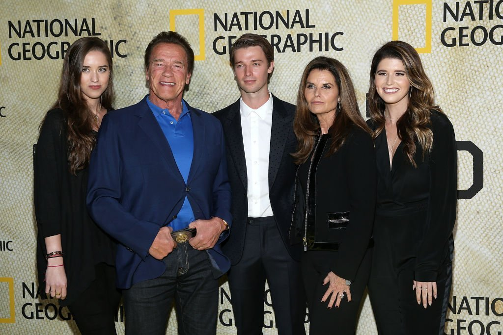 "(L-R) Christina Schwarzenegger, Arnold Schwarzenegger, Patrick Schwarzenegger, Maria Shriver and Katherine Schwarzenegger attend the premiere of National Geographic's ""The Long Road Home"" at Royce Hall. 