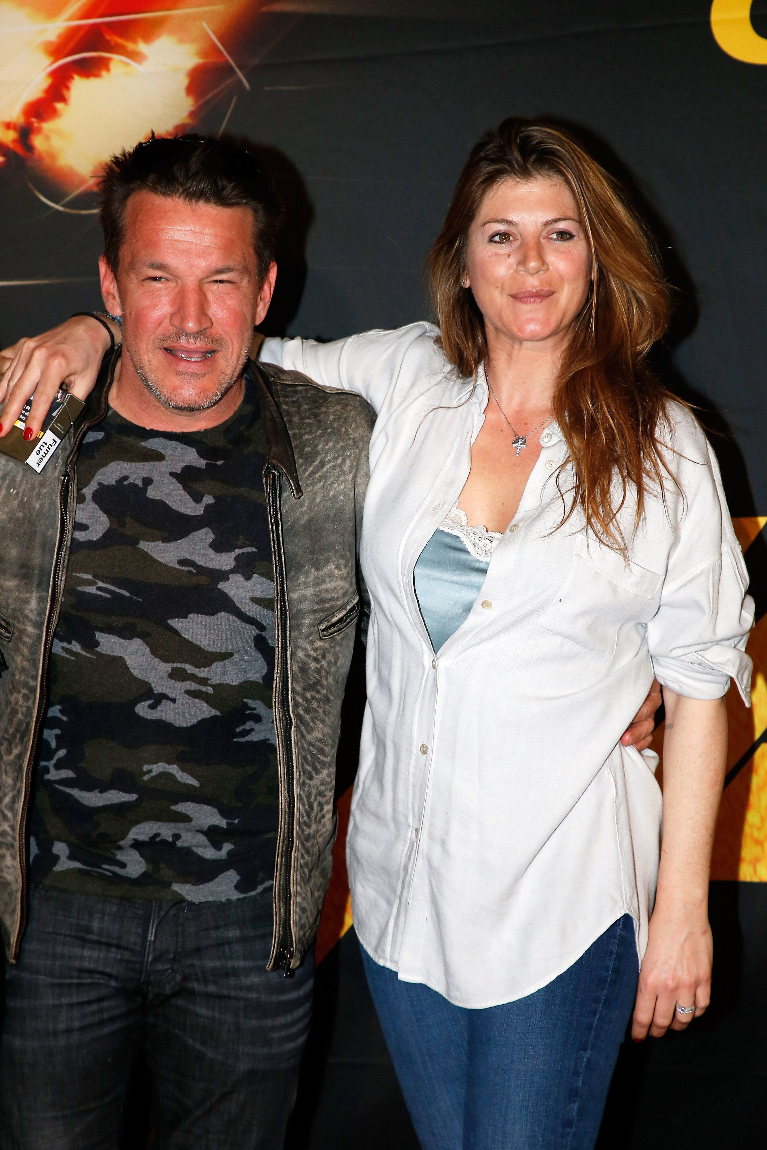 "Benjamin Castaldi et son épouse Aurore Aleman assistent à ""Taxi 5"" Paris Premierere au Grand Rex le 8 avril 2018 à Paris, France. 