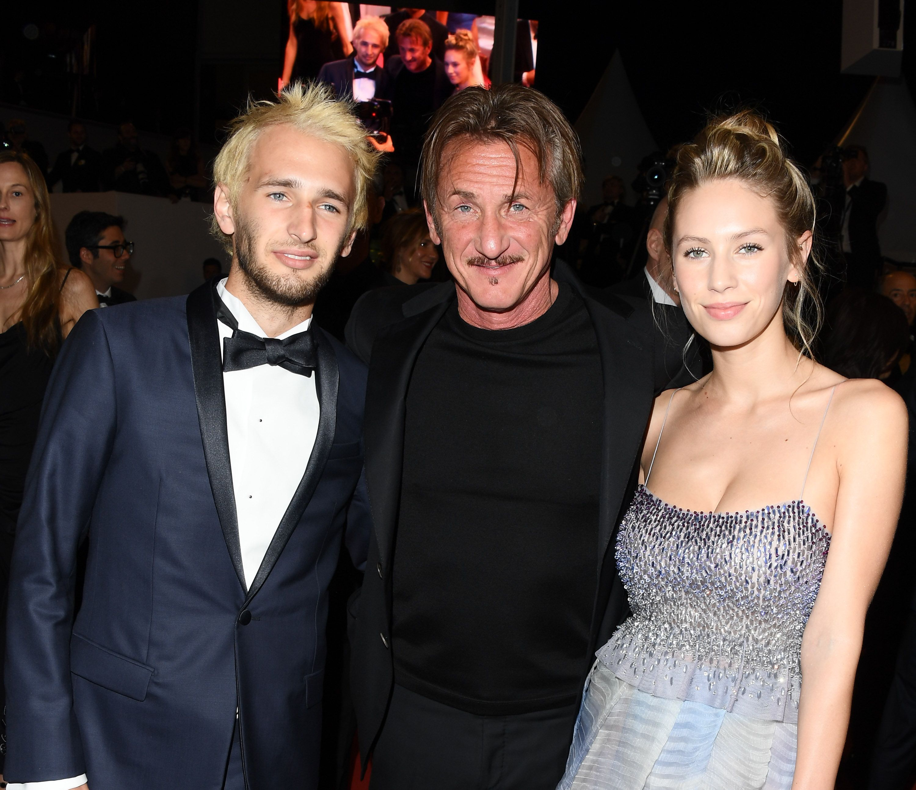"""Hopper, Sean, and Dylan Penn leaving the premiere of """"The Last Face"""" during the 69th annual Cannes Film Festival on May 20, 2016, in France 