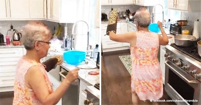 Granny amazed her family with a hilarious dance while cooking