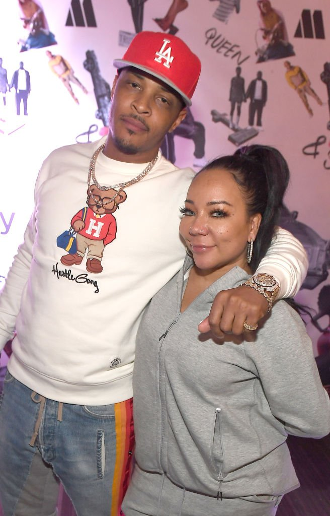 "Rapper T.I. and Tameka ""Tiny"" Harris attend the 2019 screening and conversation of ""Queen & Slim"" in Atlanta. 