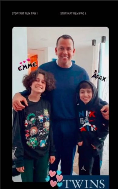 Emme posing with her twin brother Max and Alex Rodriguez. | Photo: Instagram/Jennifer Lopez