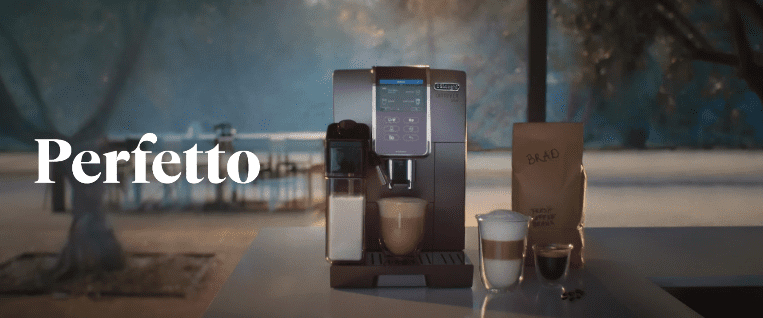 """A coffee machine and a bag of coffee beans with Brad Pitt's name as part of the De'Longhi's """"Perfect"""" campaign 