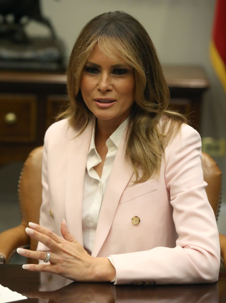 First lady Melania Trump speks during a roundtable discussion on the administration's efforts to combat the opioid epidemic, in the Roosevelt Room at the White House | Photo: Getty Images