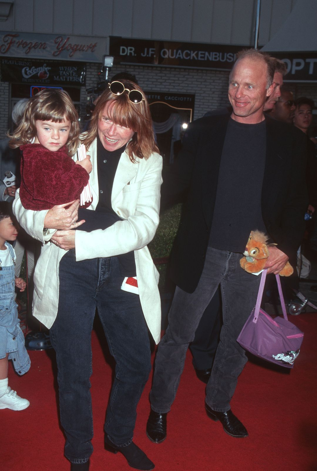 """Amy Madigan, Ed Harris and their daughter Lily Dolores Harris attend """"The Aristicats"""" Video Release on April 18, 1996 