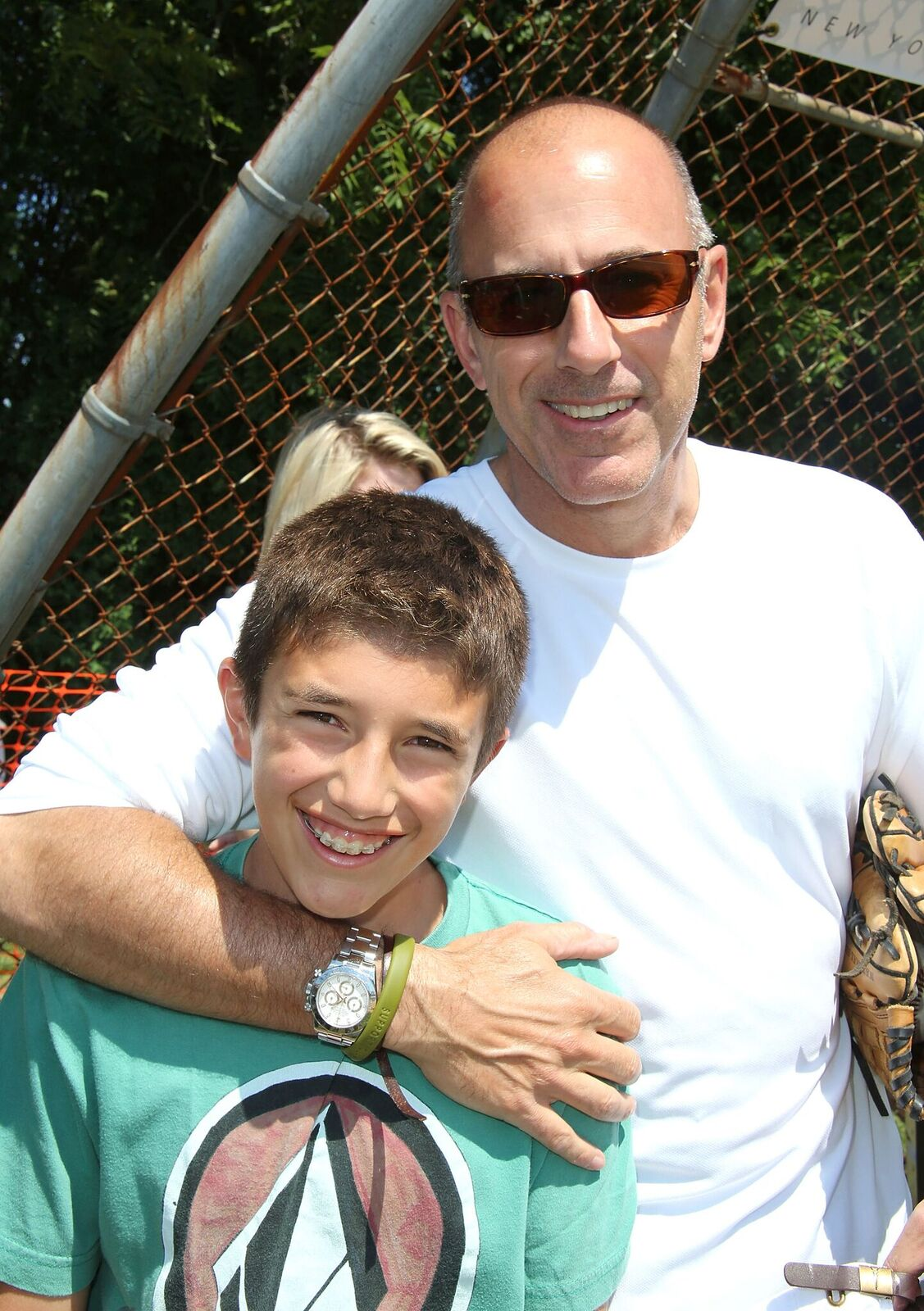 Matt Lauer and son Jack at the 65th Anniversary Artists & Writers Celebrity Softball Game on August 17, 2013, in East Hampton, New York   Photo: Sonia Moskowitz/Getty Images