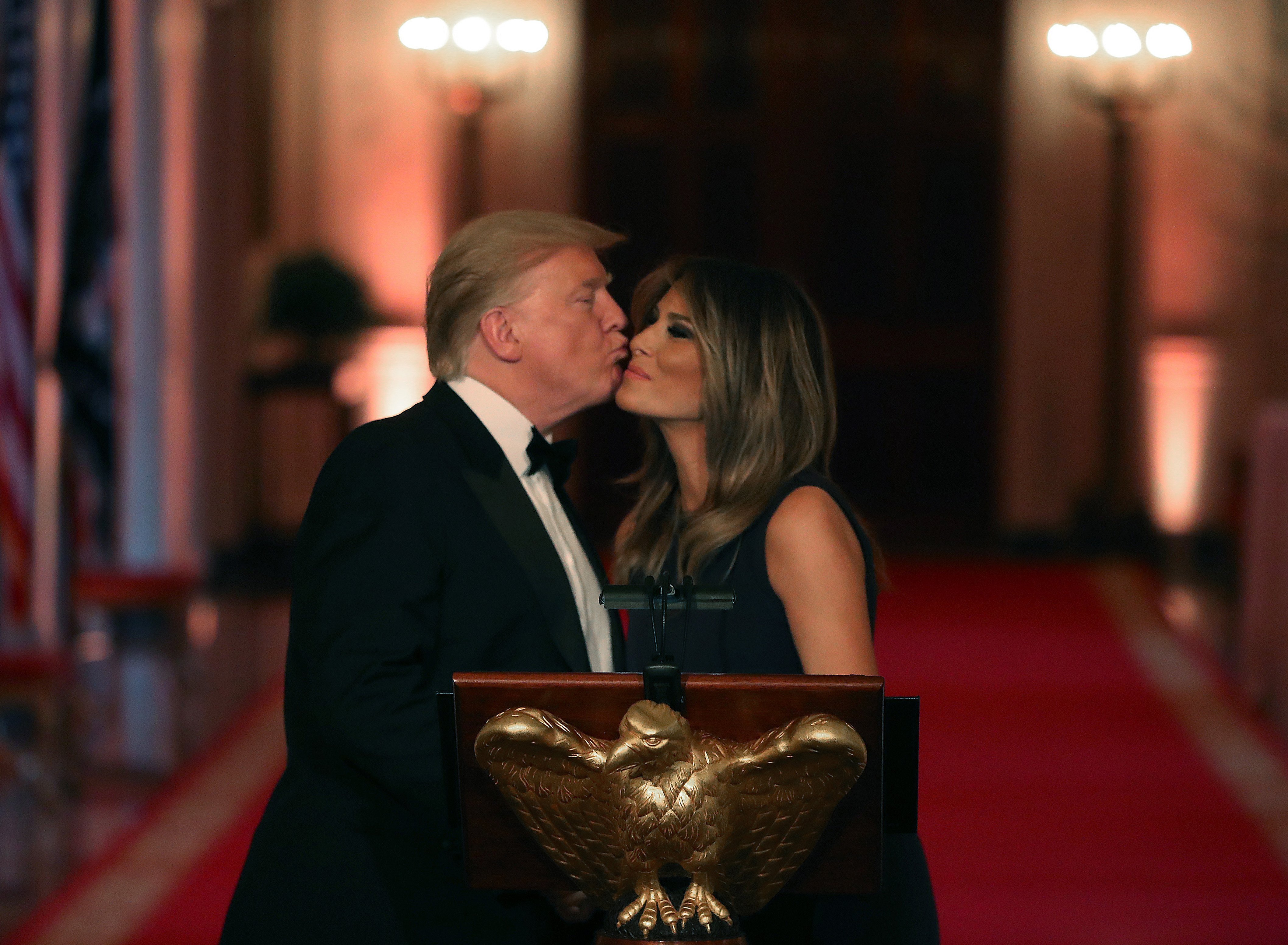 President Donald Trump and First Lady Melania Trump U.S. President Donald Trump and first lady Melania Trump at the White House Historical Association Dinner | Photo: Getty Images